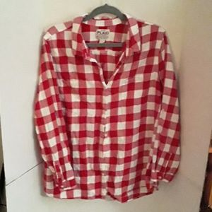 Old Navy men's red and white flannel